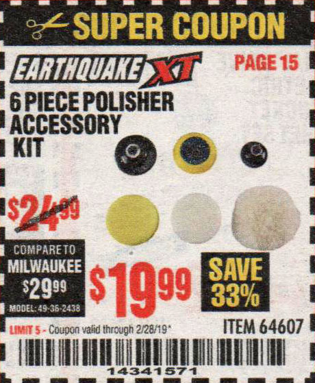 Harbor Freight Coupons, HF Coupons, 20% off - Earthquake Xt 6 Piece Polisher Accessory Kit