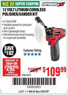 Harbor Freight Coupons, HF Coupons, 20% off - Earthquake Xt 12 Volt Lithium Cordless Polisher/sander Kit