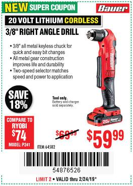 Harbor Freight Coupons, HF Coupons, 20% off - Bauer 20 Volt Hypermax Lithium Cordless 3/8