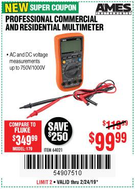 Harbor Freight Coupons, HF Coupons, 20% off - Ames Professional Commercial And Residential Multimeter