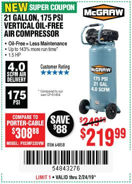Harbor Freight Coupons, HF Coupons, 20% off - Mcgraw 175 Psi, 21 Gallon Vertical Oil-free Air Compressor