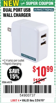 Harbor Freight Coupons, HF Coupons, 20% off - Dual Port Usb Wall Charger