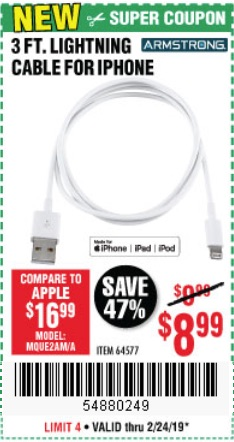 Harbor Freight Coupons, HF Coupons, 20% off - 3 Ft. Lightning Cable For Iphone