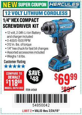 Harbor Freight Coupons, HF Coupons, 20% off - Hercules 12 Volt Lithium Cordless 1/4
