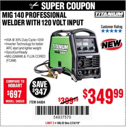 Harbor Freight Coupons, HF Coupons, 20% off - Titanium Mig 140 Welder