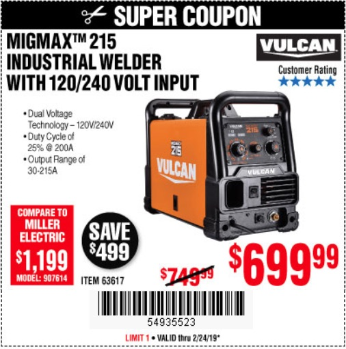 Harbor Freight Coupons, HF Coupons, 20% off - Vulcan Migmax 215a Welder