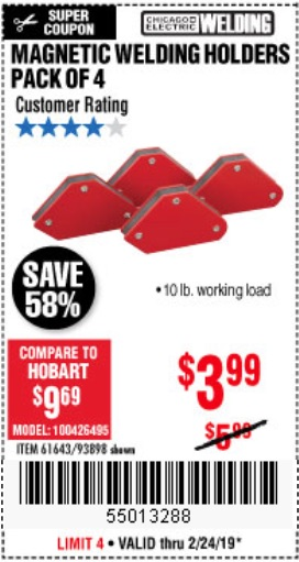Harbor Freight Coupons, HF Coupons, 20% off - 4 Piece Magnetic Welding Holders