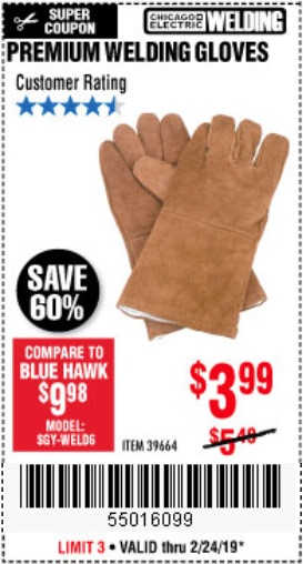 Harbor Freight Coupons, HF Coupons, 20% off - Premium Welding Gloves