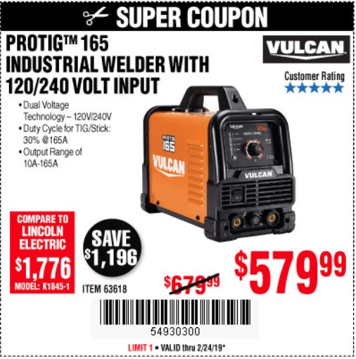 Harbor Freight Coupons, HF Coupons, 20% off - Vulcan Protig 165 Welder With 120/240 Volt Input