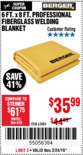 Harbor Freight Coupons, HF Coupons, 20% off - 6 Ft. X 8 Ft. Professional Fiberglass Welding Blanket