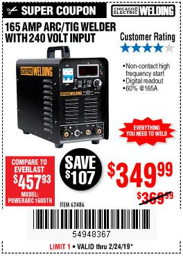 Harbor Freight Coupons, HF Coupons, 20% off - 165 Amp Arc/tig Welder With 240 Volt Input