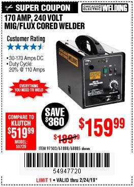 Harbor Freight Coupons, HF Coupons, 20% off - 170 Amp Mig/flux Wire Feed Welder