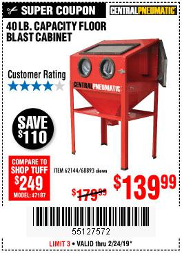 Harbor Freight Coupons, HF Coupons, 20% off - 40 Lb. Capacity Floor Blast Cabinet
