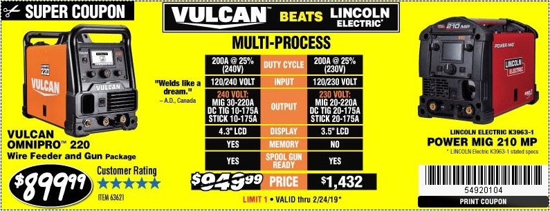 Harbor Freight Coupons, HF Coupons, 20% off - Vulcan Omnipro 220 Multiprocess Welder With 120/240 Volt Input