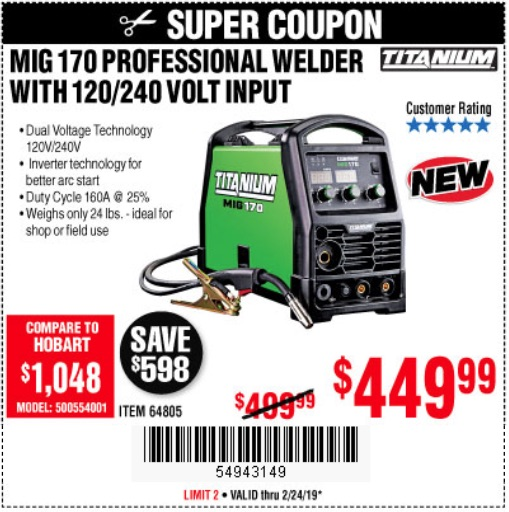Harbor Freight Coupons, HF Coupons, 20% off - Titanium Mig 170 Welder