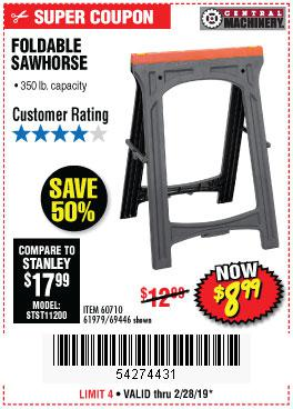 Harbor Freight Coupons, HF Coupons, 20% off - 350 Lb. Capacity Folding Sawhorse