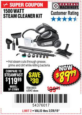 Harbor Freight Coupons, HF Coupons, 20% off - 1500 Watt Steam Cleaner Kit