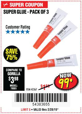Harbor Freight Coupons, HF Coupons, 20% off - Super Glue Pack Of 3