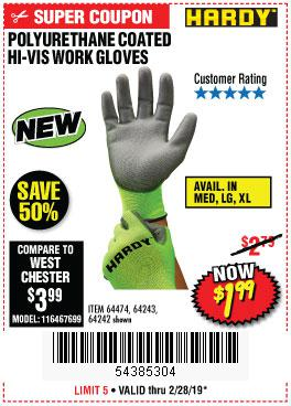 Harbor Freight Coupons, HF Coupons, 20% off - Polyurethane Coated Hi-vis Work Gloves