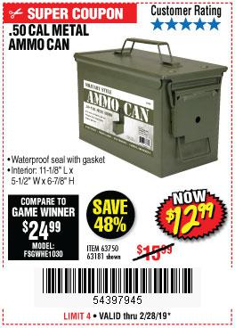 Harbor Freight Coupons, HF Coupons, 20% off - .50 Cal Metal Ammo Can
