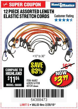 Harbor Freight Coupons, HF Coupons, 20% off - 12 Piece Assorted Length Elastic Stretch Cords