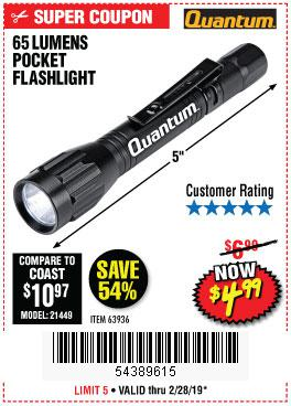Harbor Freight Coupons, HF Coupons, 20% off - 65 Lumens Pocket Flashlight