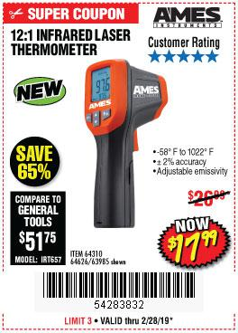 Harbor Freight Coupons, HF Coupons, 20% off - 12:1 Infrared Laser Thermometer