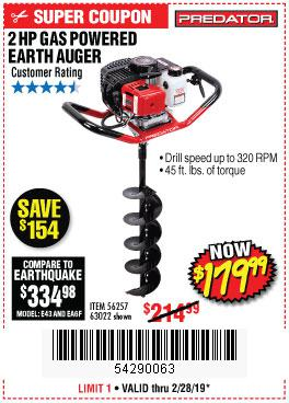Harbor Freight Coupons, HF Coupons, 20% off - 2 Hp Gas Powered Earth Auger With 6