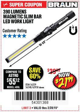 Harbor Freight Coupons, HF Coupons, 20% off - Braun 390 Lumen Slim Bar Folding Led Worklight