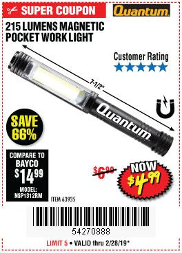 Harbor Freight Coupons, HF Coupons, 20% off - 215 Lumens Pocket Work Light