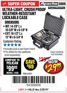 Harbor Freight Coupons, HF Coupons, 20% off - Apache 3800 Weatherproof Protective Case