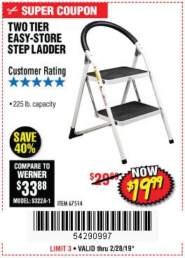 Harbor Freight Coupons, HF Coupons, 20% off - Two Tier Easy-store Step Ladder