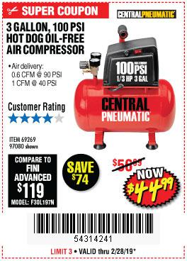 Harbor Freight Coupons, HF Coupons, 20% off - 3 Gallon 100 Psi Oilless Hot Dog Style Air Compressor