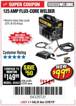 Harbor Freight Coupons, HF Coupons, 20% off - 125 Amp Flux-core Welder