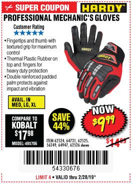 Harbor Freight Coupons, HF Coupons, 20% off - Professional Mechanic's Gloves