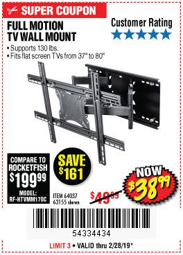 Harbor Freight Coupons, HF Coupons, 20% off - Full Motion Tv Wall Mount