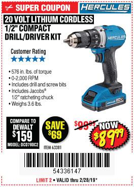 Harbor Freight Coupons, HF Coupons, 20% off - Hercules 20 Volt Lithium Cordless 1/2
