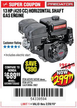 Harbor Freight Coupons, HF Coupons, 20% off - 13 Hp (420 Cc) Ohv Horizontal Shaft Gas Engines