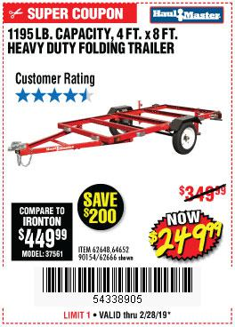 Harbor Freight Coupons, HF Coupons, 20% off - 1195 Lb. Capacity 4 Ft. X 8 Ft. Heavy Duty Foldable Utility Trailer