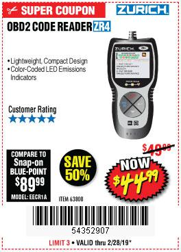 Harbor Freight Coupons, HF Coupons, 20% off - Zurich Obd2 Code Reader Zr4