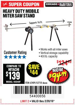 Harbor Freight Coupons, HF Coupons, 20% off - Heavy Duty Mobile Miter Saw Stand