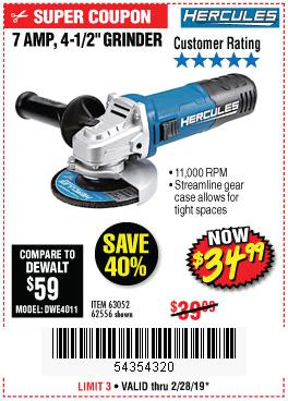 Harbor Freight Coupons, HF Coupons, 20% off - Hercules 4-1/2
