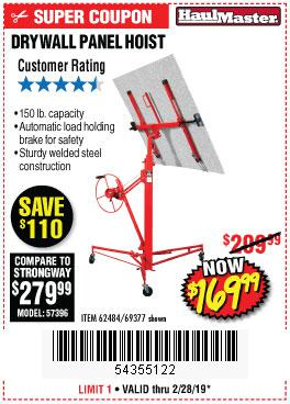 Harbor Freight Coupons, HF Coupons, 20% off - 150 Lb. Capacity Drywall/panel Hoist