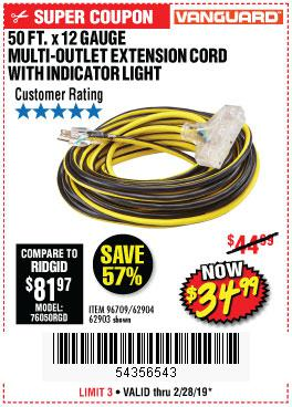 Harbor Freight Coupons, HF Coupons, 20% off - 12 Gauge X 50ft Multi-outlet Extension Cord With Indicator Light