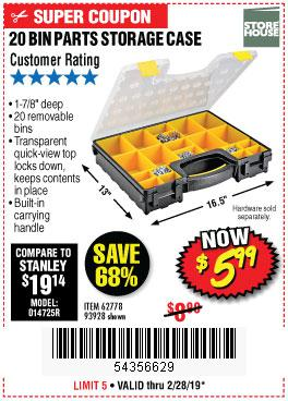 Harbor Freight Coupons, HF Coupons, 20% off - 20 Bin Portable Parts Storage Case
