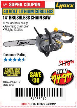 Harbor Freight Coupons, HF Coupons, 20% off - Lynxx 40 V Lithium Cordless 14