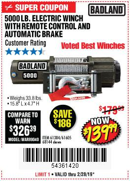 Harbor Freight Coupons, HF Coupons, 20% off - 5000 Lb. Electric Winch With Remote Control And Automatic Brake