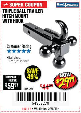 Harbor Freight Coupons, HF Coupons, 20% off - Triple Ball Trailer Hitch Mount With Hook