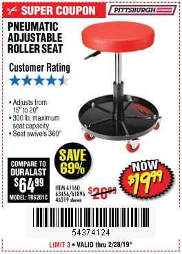 Harbor Freight Coupons, HF Coupons, 20% off - Pneumatic Adjustable Roller Seat