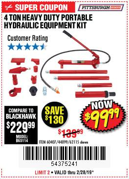 Harbor Freight Coupons, HF Coupons, 20% off - 4 Ton Heavy Duty Portable Hydraulic Equipment Kit